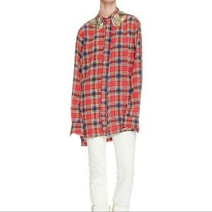 Marc Jacobs Oversized Silk Plaid Button Down Shirt